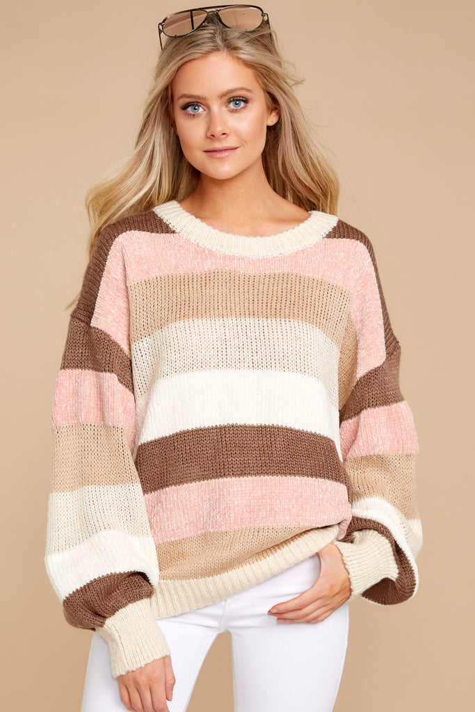 5 Fall With Me Tan Stripe Sweater at reddressboutique.com