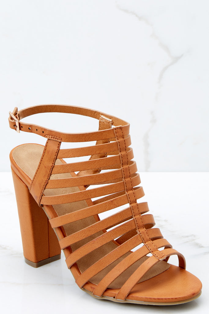 1 Getting There Tan Caged Heels at reddressboutique.com