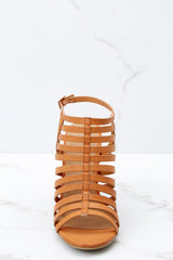 2 Getting There Tan Caged Heels at reddressboutique.com
