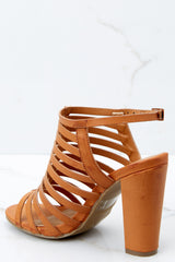 3 Getting There Tan Caged Heels at reddressboutique.com
