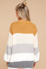 Rumor Has It Tan Multi Stripe Sweater