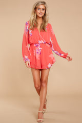 2 Touch Of Spring Hot Pink Floral Print Romper at reddressboutique.com