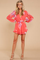 1 Touch Of Spring Hot Pink Floral Print Romper at reddressboutique.com