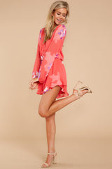 3 Touch Of Spring Hot Pink Floral Print Romper at reddressboutique.com