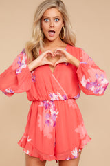 4 Touch Of Spring Hot Pink Floral Print Romper at reddressboutique.com