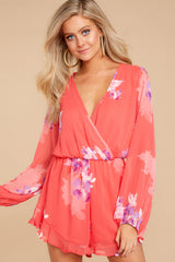 5 Touch Of Spring Hot Pink Floral Print Romper at reddressboutique.com