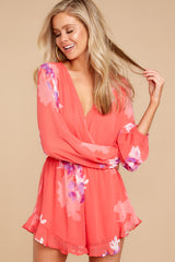 6 Touch Of Spring Hot Pink Floral Print Romper at reddressboutique.com