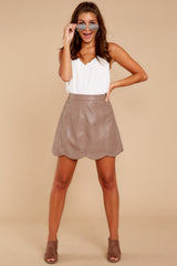 5 Selfish Intentions Mocha Leather Skirt at reddressboutique.com