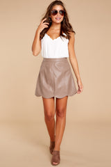 6 Selfish Intentions Mocha Leather Skirt at reddressboutique.com