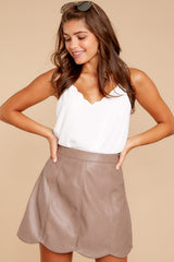 7 Selfish Intentions Mocha Leather Skirt at reddressboutique.com