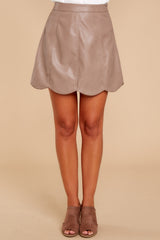 Selfish Intentions Mocha Leather Skirt