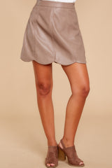 2 Selfish Intentions Mocha Leather Skirt at reddressboutique.com