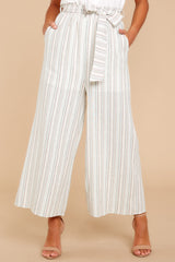 3 No Need Ivory Multi Stripe Pants at reddressboutique.com