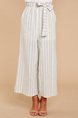 4 No Need Ivory Multi Stripe Pants at reddressboutique.com