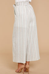 6 No Need Ivory Multi Stripe Pants at reddressboutique.com