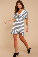 2 Shake Things Up Black Striped Dress at reddressboutique.com