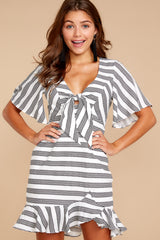 3 Shake Things Up Black Striped Dress at reddressboutique.com