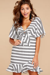 5 Shake Things Up Black Striped Dress at reddressboutique.com
