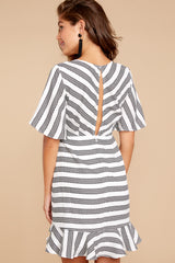 6 Shake Things Up Black Striped Dress at reddressboutique.com