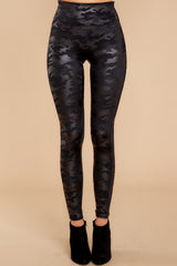 2 Faux Leather Camo Leggings at reddressboutique.com