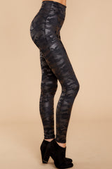 1 Faux Leather Camo Leggings at reddressboutique.com