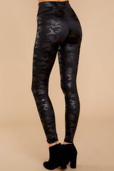 3 Faux Leather Camo Leggings at reddressboutique.com