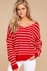 3 Evenings At The Boathouse Red Striped Sweater at reddressboutique.com