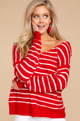 4 Evenings At The Boathouse Red Striped Sweater at reddressboutique.com