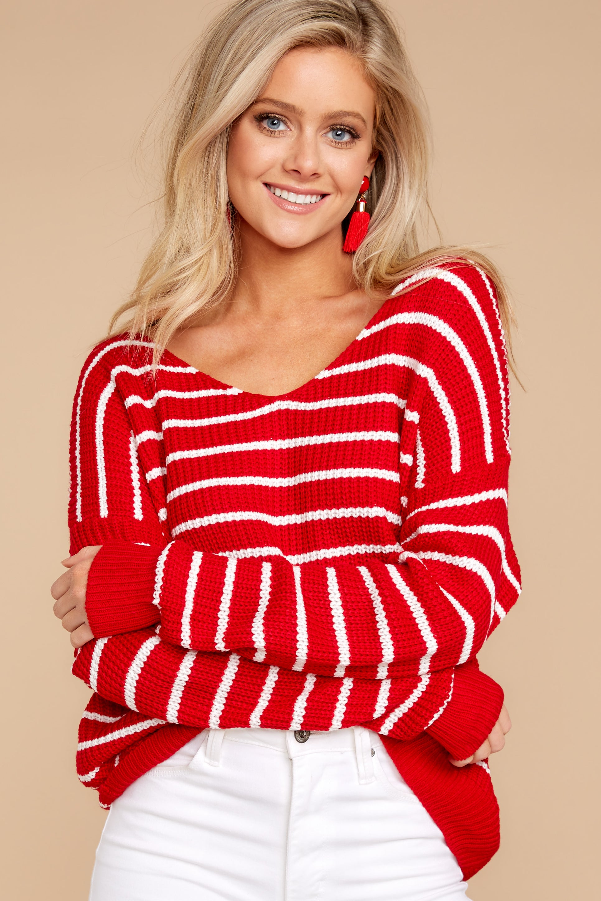 5 Evenings At The Boathouse Red Striped Sweater at reddressboutique.com
