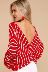 6 Evenings At The Boathouse Red Striped Sweater at reddressboutique.com