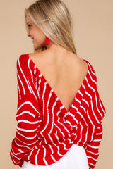 7 Evenings At The Boathouse Red Striped Sweater at reddressboutique.com