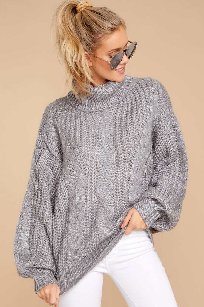 5 Warming Up To The Idea Grey Turtleneck Sweater at reddressboutique.com