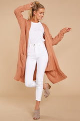 3 Out Do It Apricot Knit Cardigan at reddressboutique.com