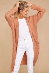 5 Out Do It Apricot Knit Cardigan at reddressboutique.com
