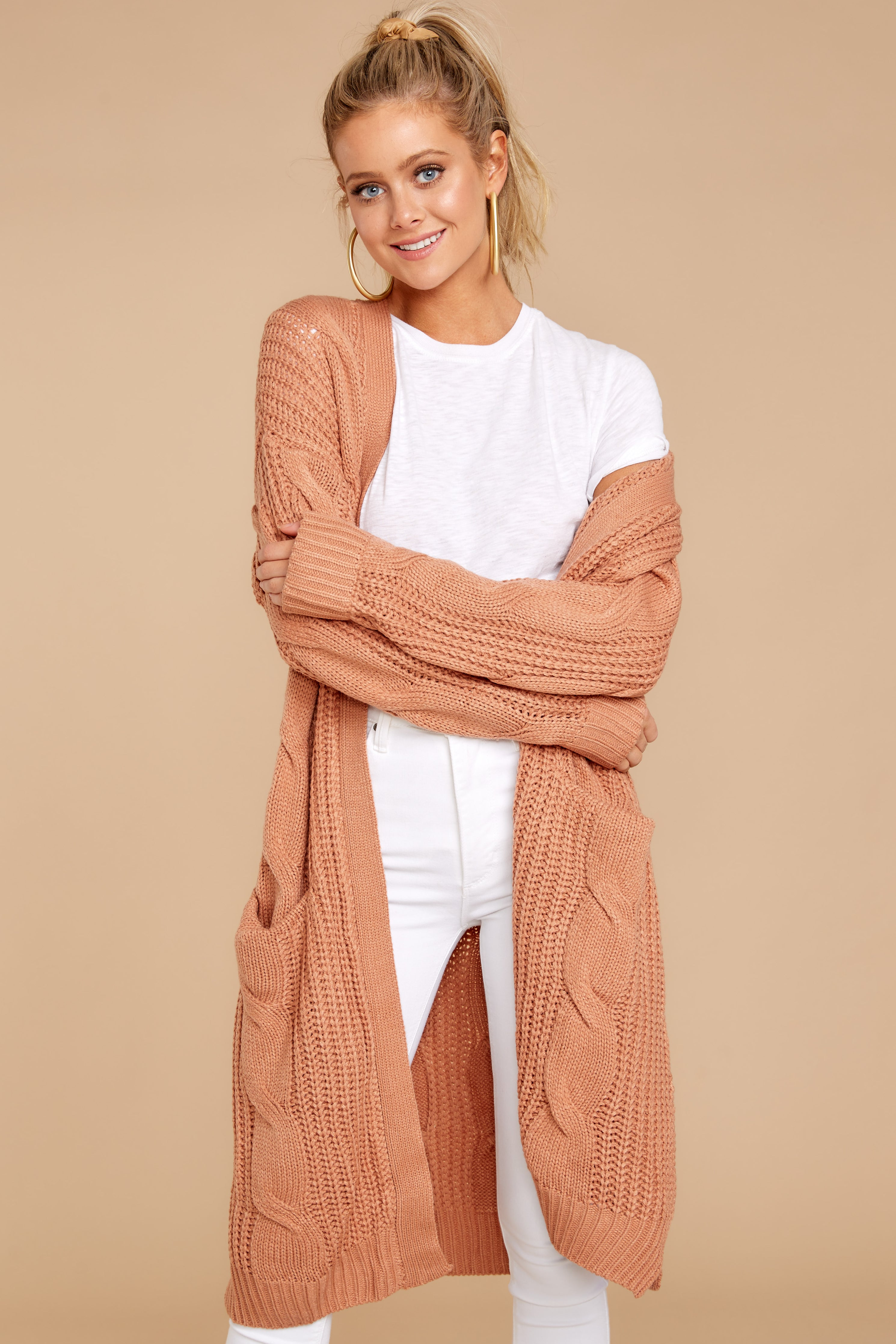 7 Out Do It Apricot Knit Cardigan at reddressboutique.com