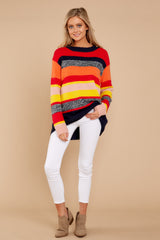 6 Get It Going Red Multi Sweater at reddress.com