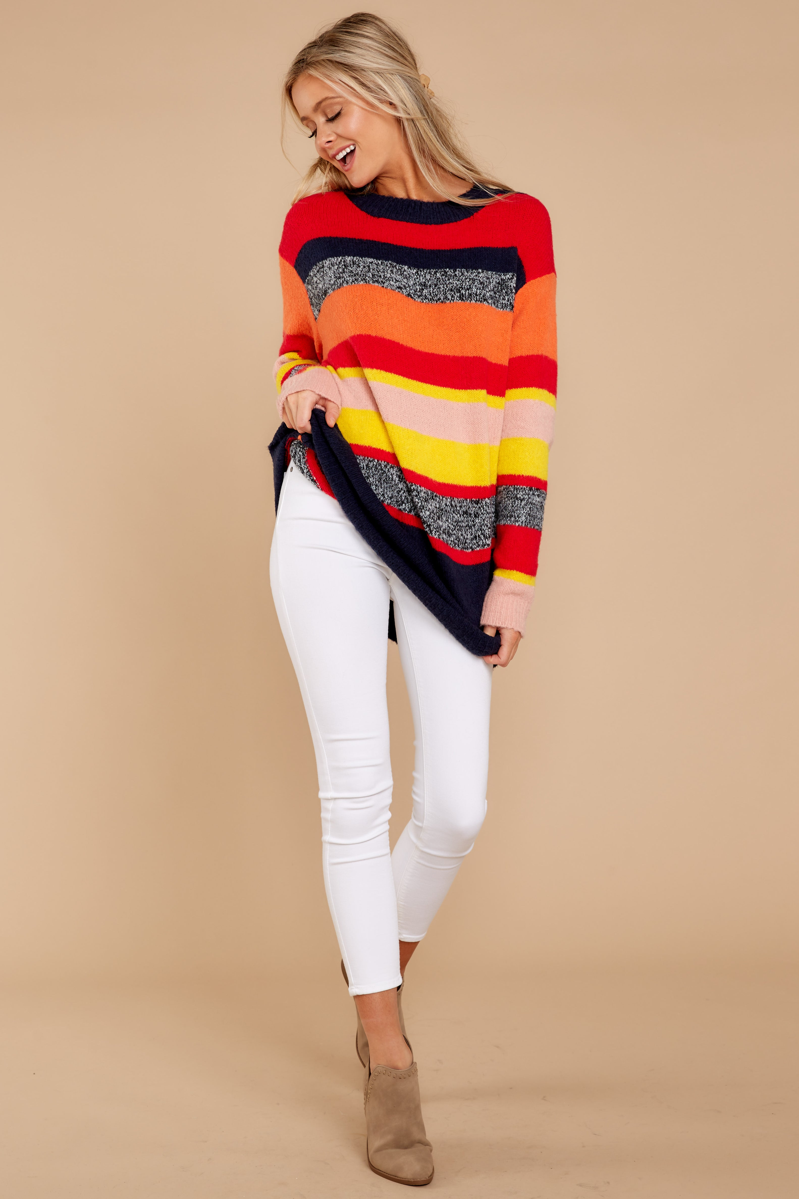 2 Get It Going Red Multi Sweater at reddressboutique.com