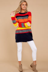 9 Get It Going Red Multi Sweater at reddress.com