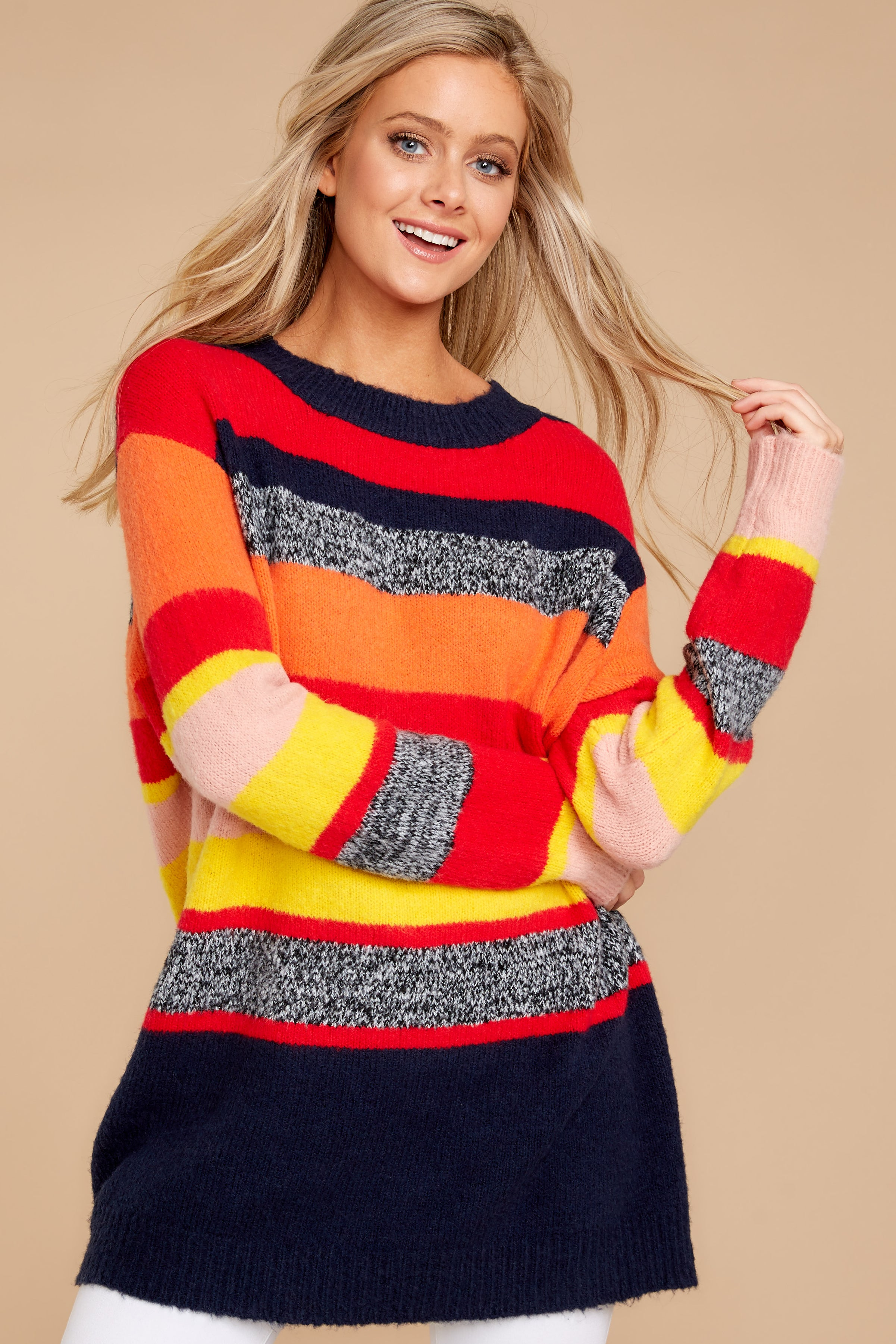 7 Get It Going Red Multi Sweater at reddress.com