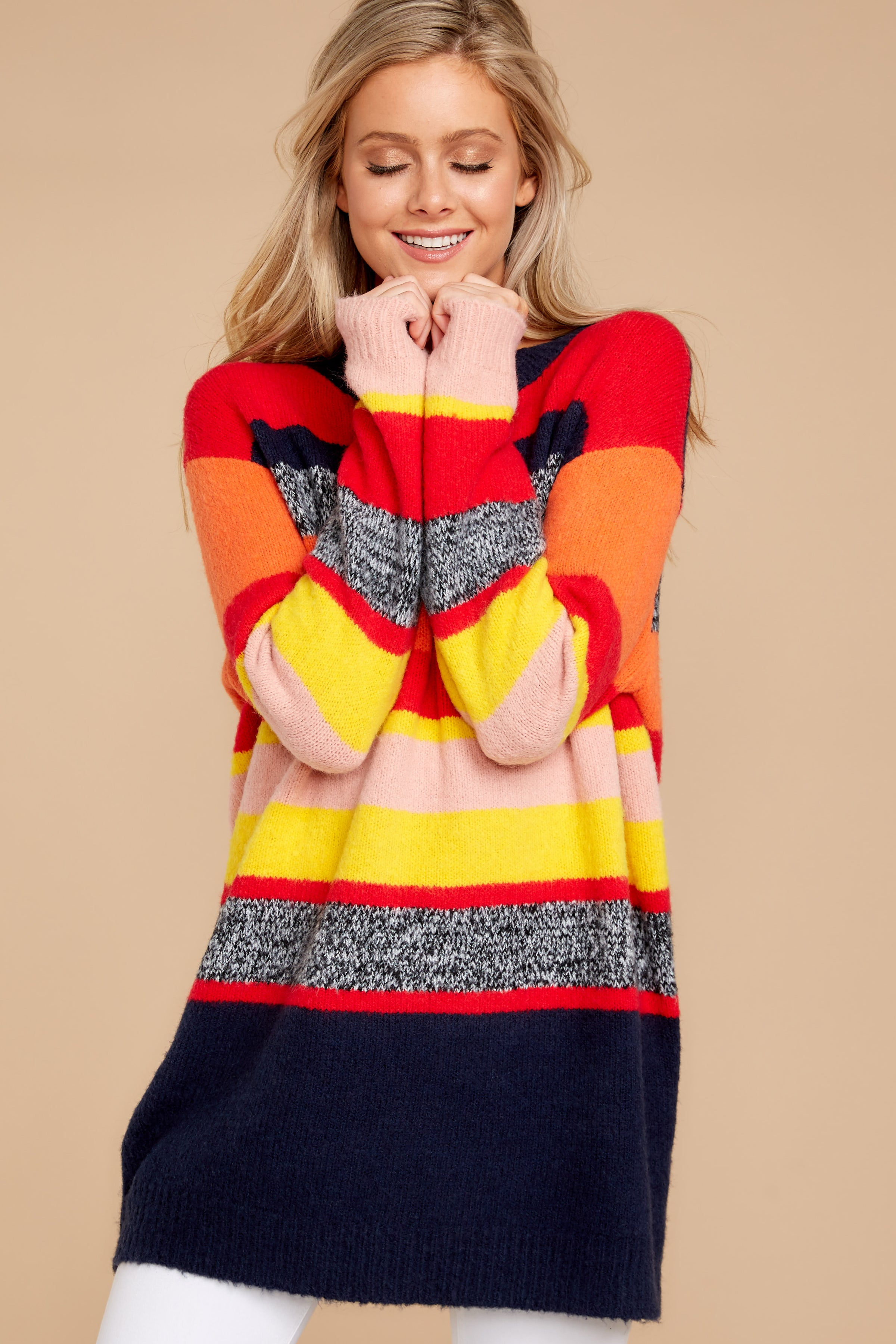 5 Get It Going Red Multi Sweater at reddressboutique.com