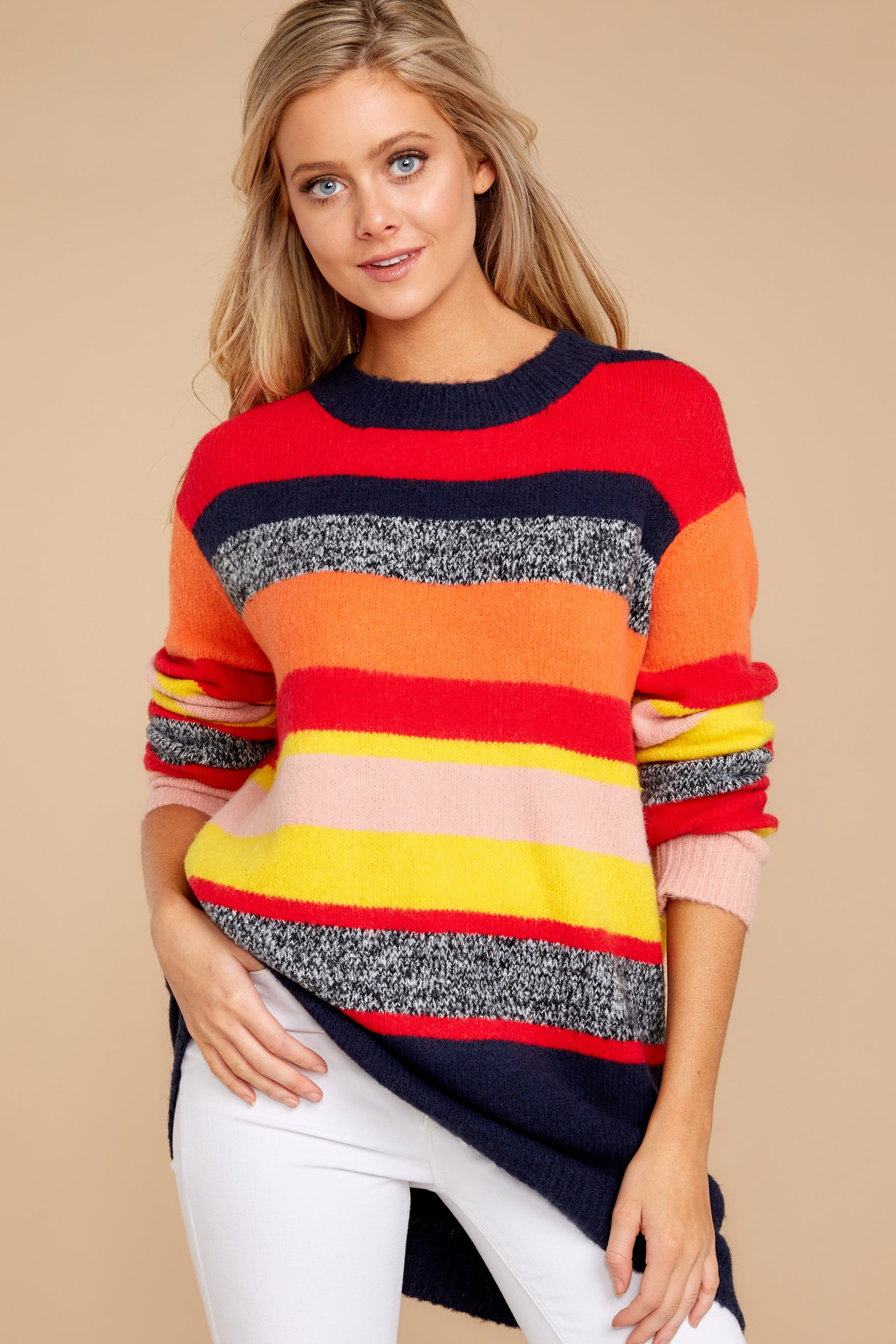 11 Get It Going Red Multi Sweater at reddress.com
