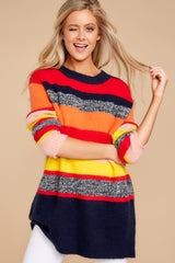 7 Get It Going Red Multi Sweater at reddressboutique.com
