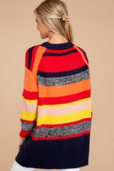 12 Get It Going Red Multi Sweater at reddress.com