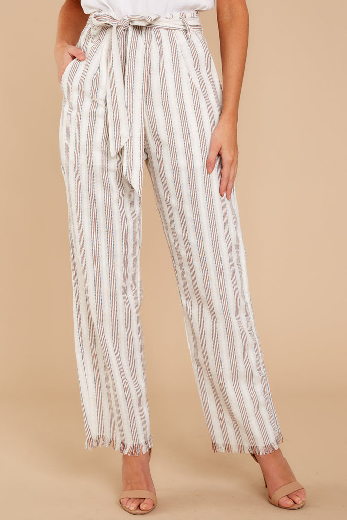 2 No Need Ivory Multi Stripe Pants at reddressboutique.com