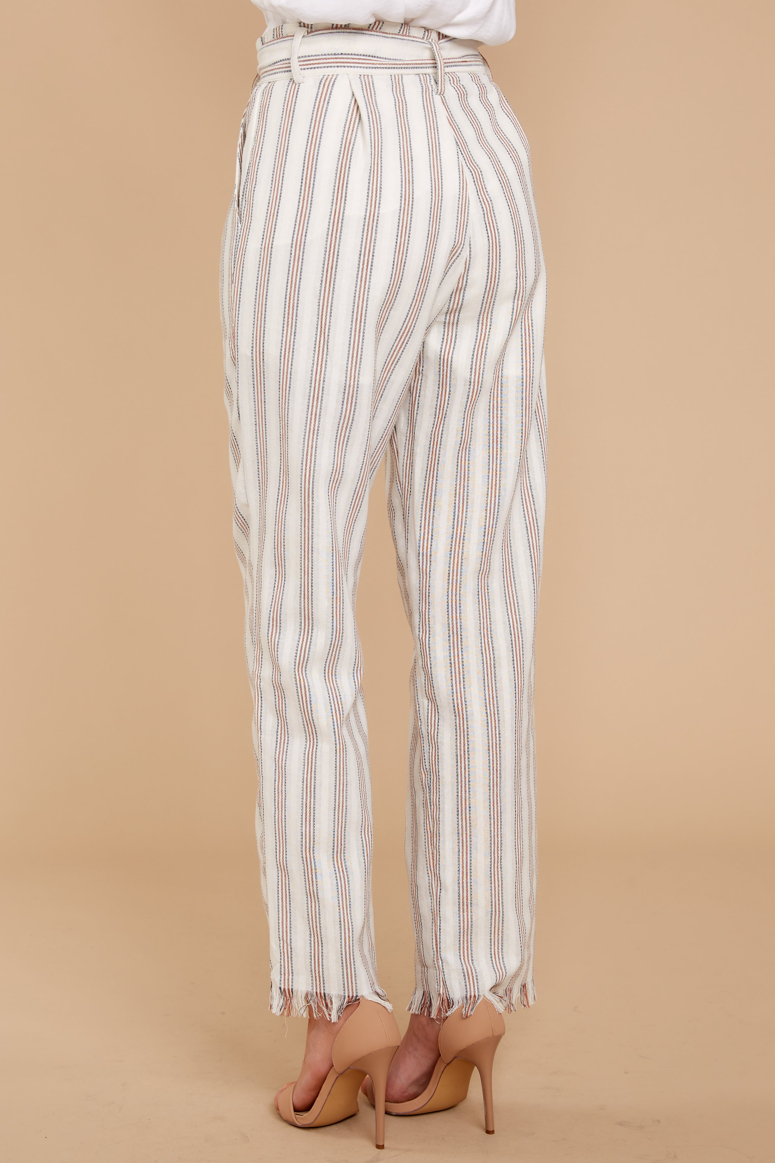 4 Write It Out Cream Stripe Pants at reddressboutique.com