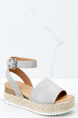 1 Know The Way To You Light Grey Flatform Sandals at reddress.com
