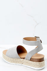 3 Know The Way To You Light Grey Flatform Sandals at reddress.com