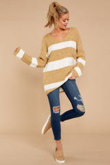 2 Fall With Me Tan Stripe Sweater at reddressboutique.com