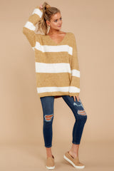 3 Fall With Me Tan Stripe Sweater at reddressboutique.com