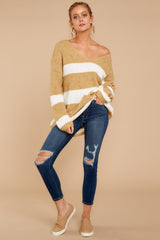1 Fall With Me Tan Stripe Sweater at reddressboutique.com
